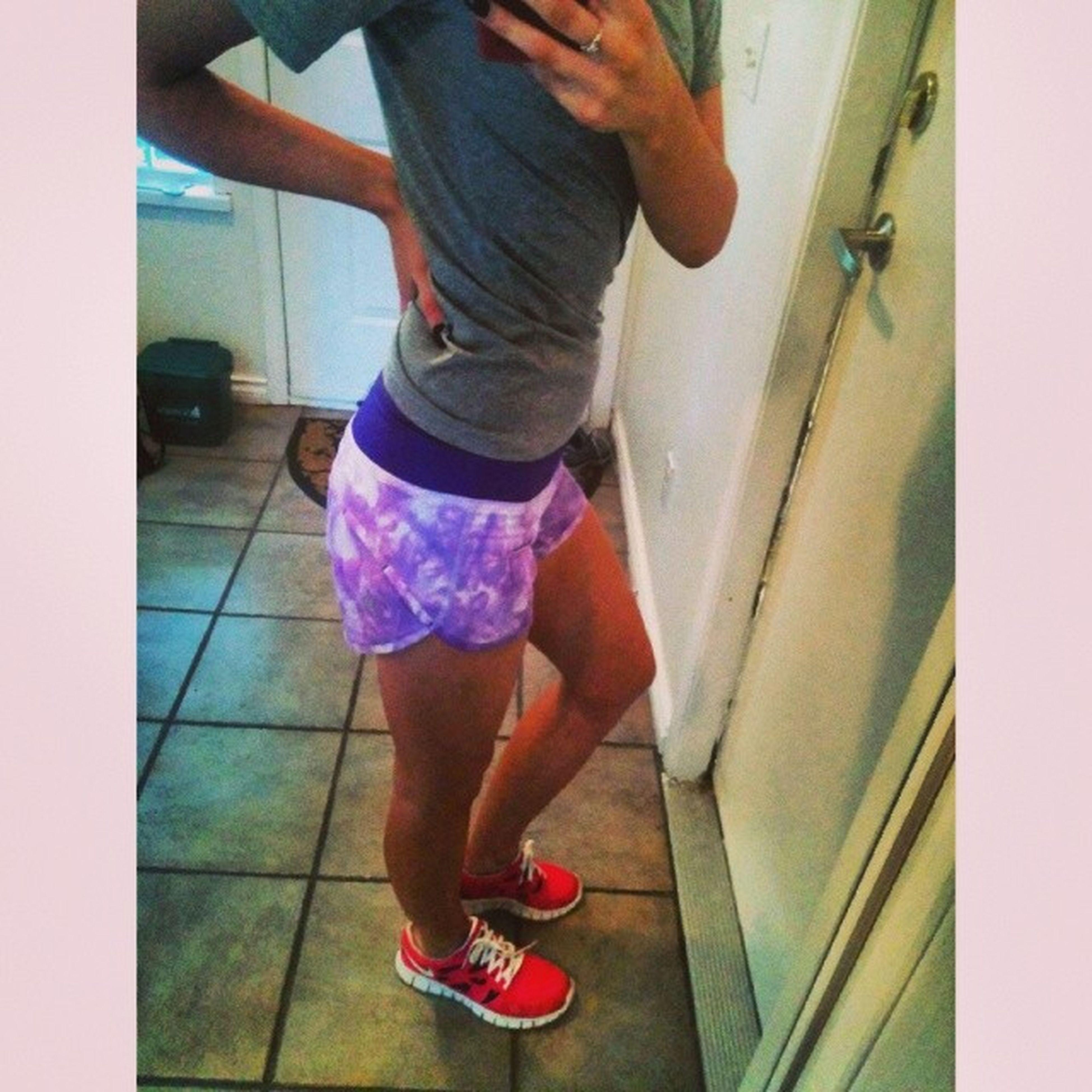 Gotta love it when you get new gym gear! NikeFreeRuns Lululemon Sickshorts LoveEm favecolourssummerwear???