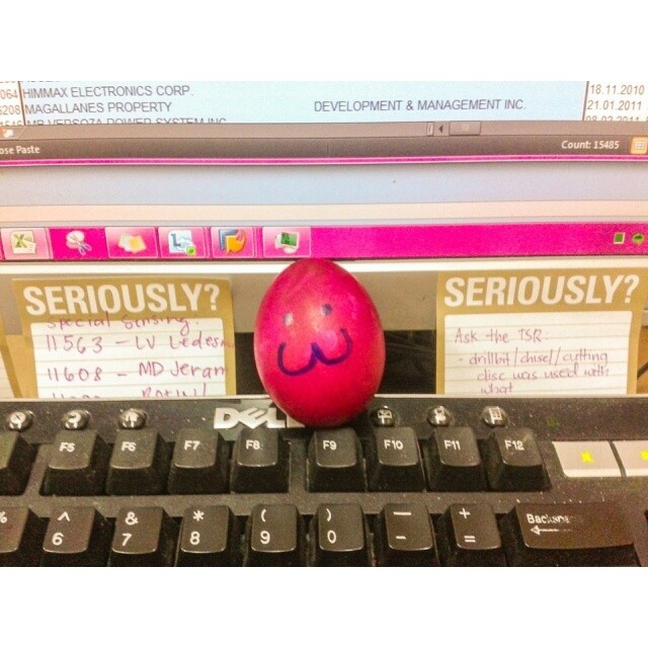I have a little friend keeping me company. :) Shall I call him Squeegy? Or Wilson? :D Sayhellotomylittlefriend Company Egg Saltedegg redegg keekee catsmiley officelife