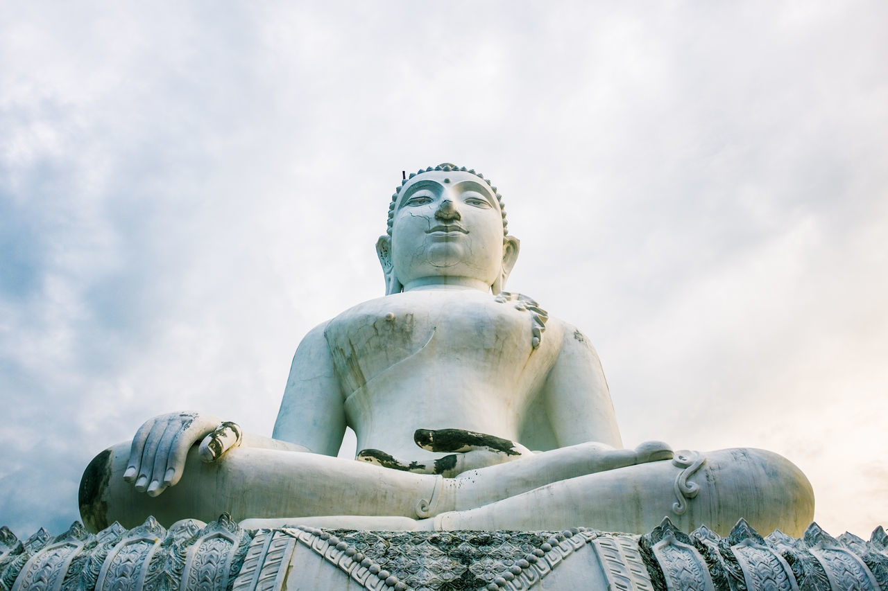 Art Art And Craft Buddha Cloud Cloud - Sky Cloudy Creativity Day Famous Place History Human Representation Idol Low Angle View Outdoors Place Of Worship Religion Sculpture Sky Spirituality Statue Tourism