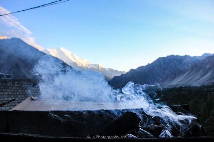 Rakaposhi Smoke Mountains Pakistan Hunza Majestic Mountain Mountain Range Sky And Mountains Karimabad