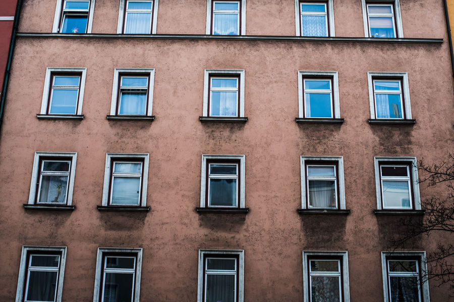 Apartment Architecture Brick Wall Building Building Exterior Built Structure City Life Composition Day Development Exterior Façade Full Frame Low Perspective Modern No People Outdoors Perspective Repetition Residential Building Residential Structure Urban Window