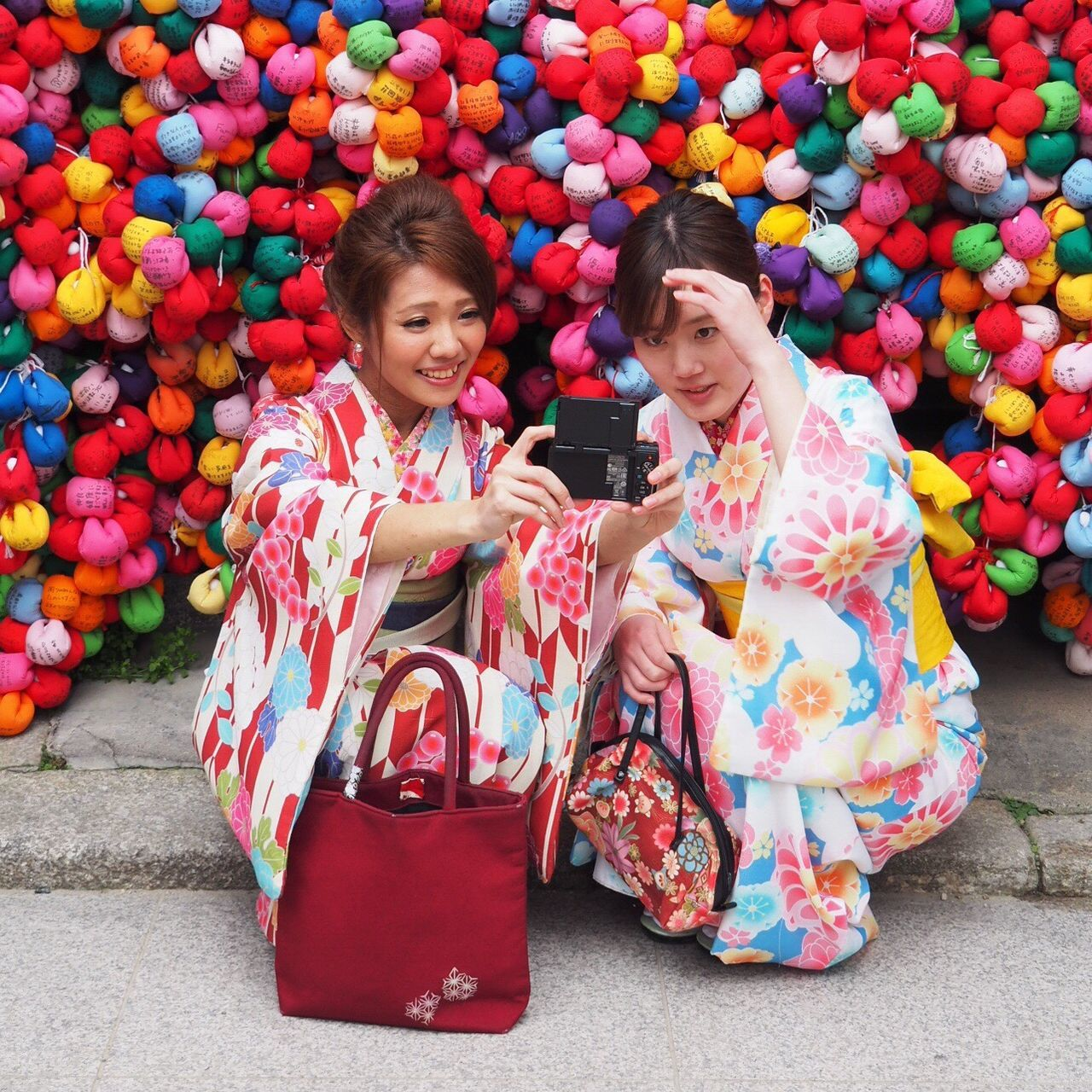 Sharing selfies Two People Girls Smiling Outdoors Females Kimono People Day Adult Temple Selfie ✌ Colorful Kyoto,japan Templegrounds Springtime