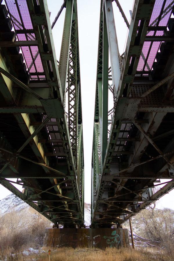 Bridge December Metal Old Old-fashioned Railroad Truss Bridge Underneath The Bridge Utah Winter