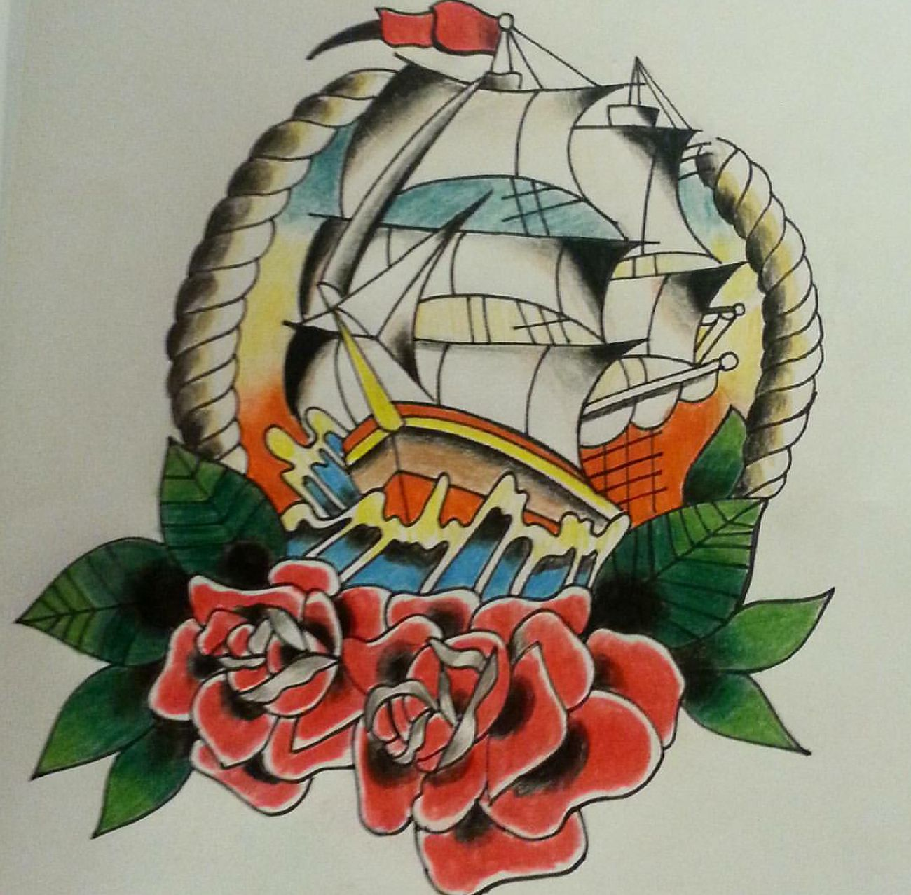 Another piece for my new portfolio ( not my own design ) , I always rush my drawings and this time I took my time which I shall do from now on because the final result is sooo much better. Art Roses Tattoo Design Coloured Pencils Drawing Ship Pretty Beautiful