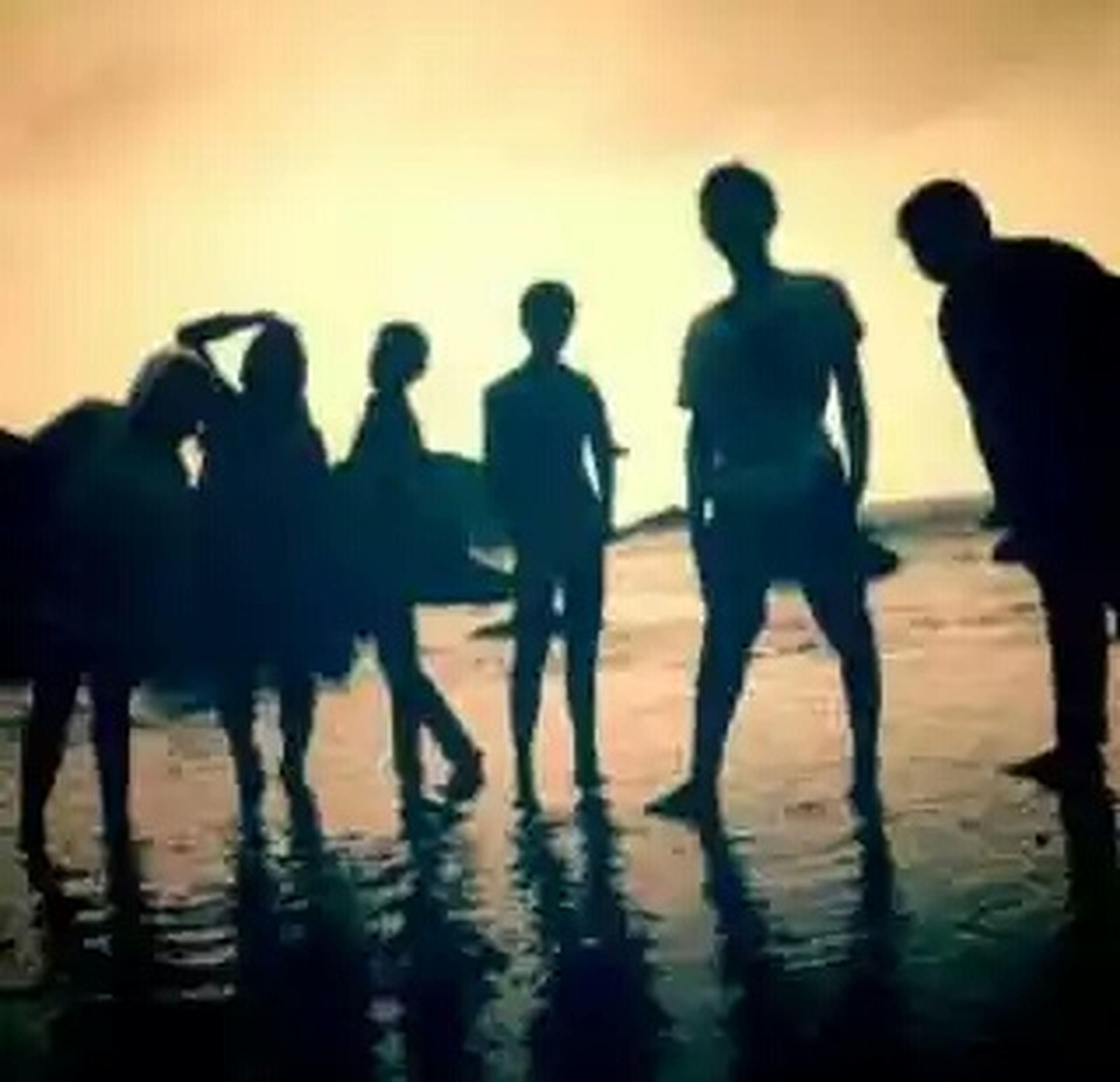 silhouette, beach, water, large group of people, men, sea, sunset, lifestyles, togetherness, leisure activity, person, reflection, walking, shore, sand, enjoyment, medium group of people, mixed age range, standing
