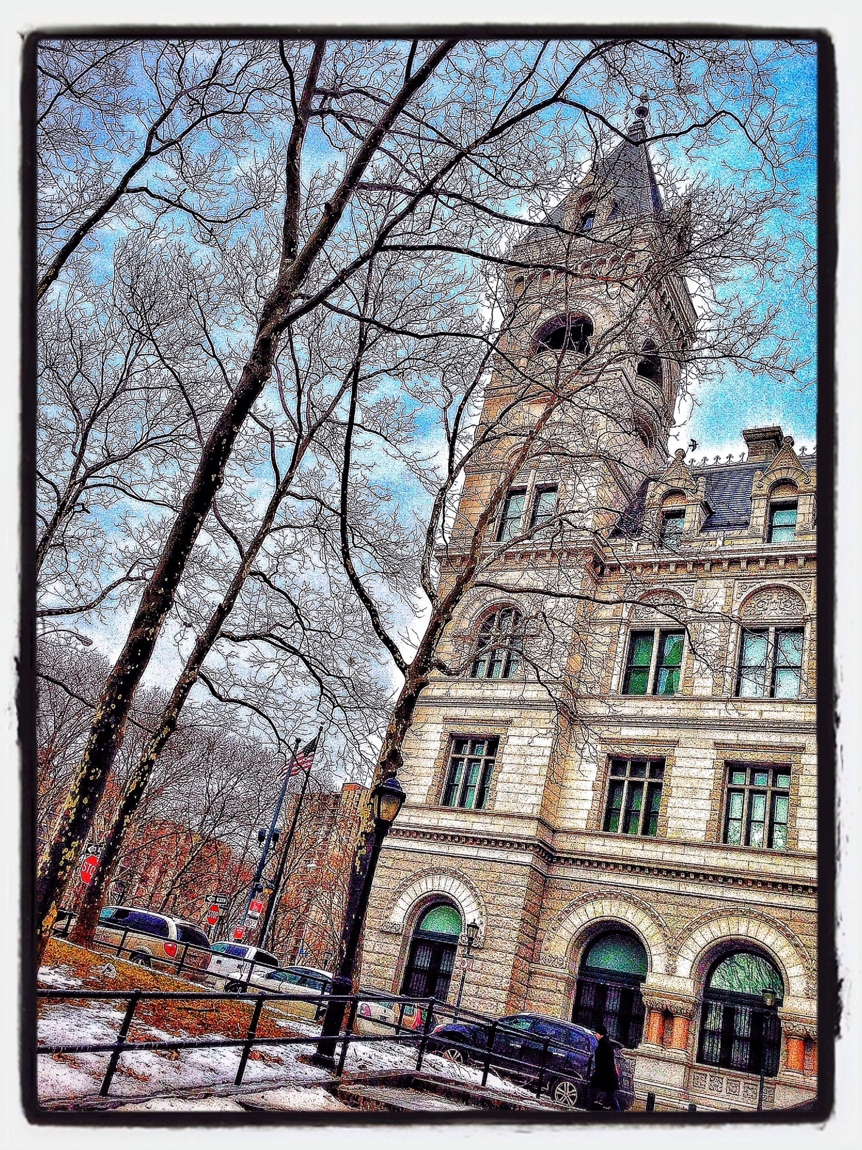 transfer print, building exterior, architecture, built structure, tree, auto post production filter, bare tree, blue, sky, low angle view, branch, day, window, city, church, outdoors, building, arch, religion, history