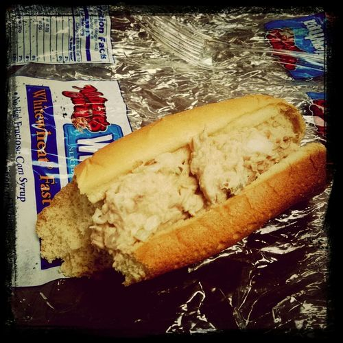 Tune Salad on a Hot Dog Bun... Yup, tomorrow is pay day 8)