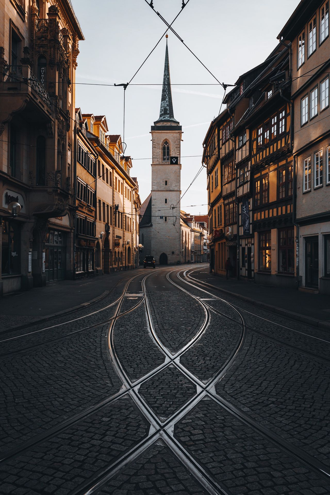 Morning glow. Building Exterior Architecture Built Structure Street Outdoors Day City Cable Clear Sky No People Sky Erfurt