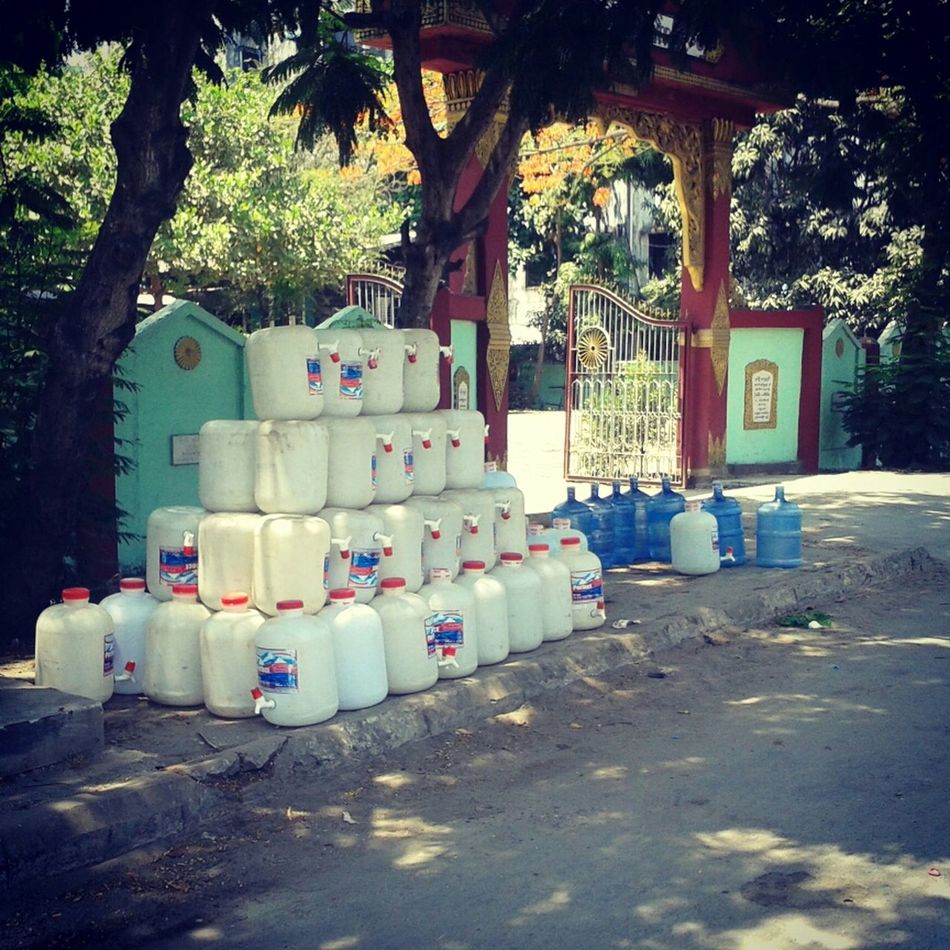 Nothing, just water bottles, Yangon, Myanmar Street Photography