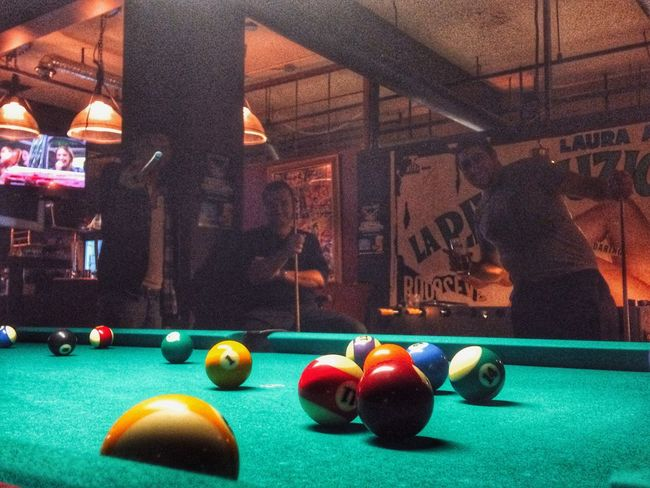 Shooting pool Pool Table Shooting Pool Billiards Night Lights Nightphotography Friends After Work Urbanphotography HDR IPhoneography