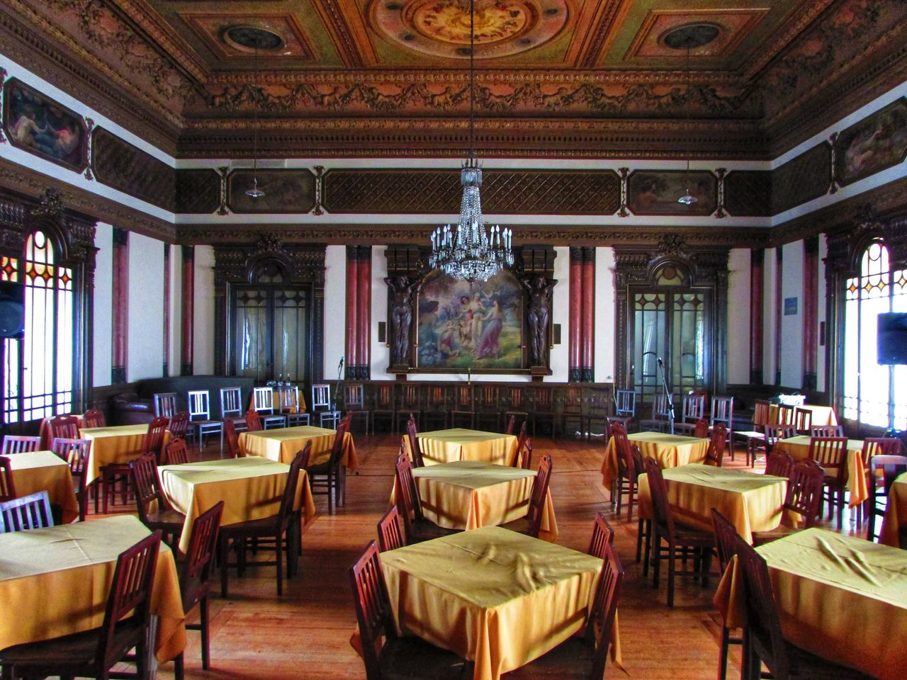 Architecture Ballroom Chair Chairs Chandelier Check This Out Day Decorated Dining Room Dining Table EyeEm Best Shots In A Row Indoors  Luxurious Luxury Natural Light No People Old Room  Ornate Salon Stained Glass Stained Glass Window Table Tables Wood Floor