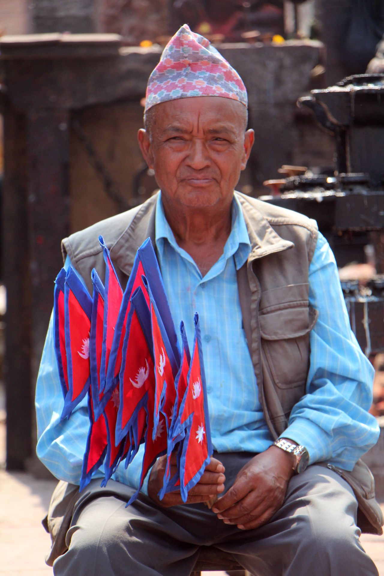 Casual Clothing Flag Flag Of Nepal Flags Focus On Foreground Lifestyles Looking At Camera Nepal Patriotism Person Portrait