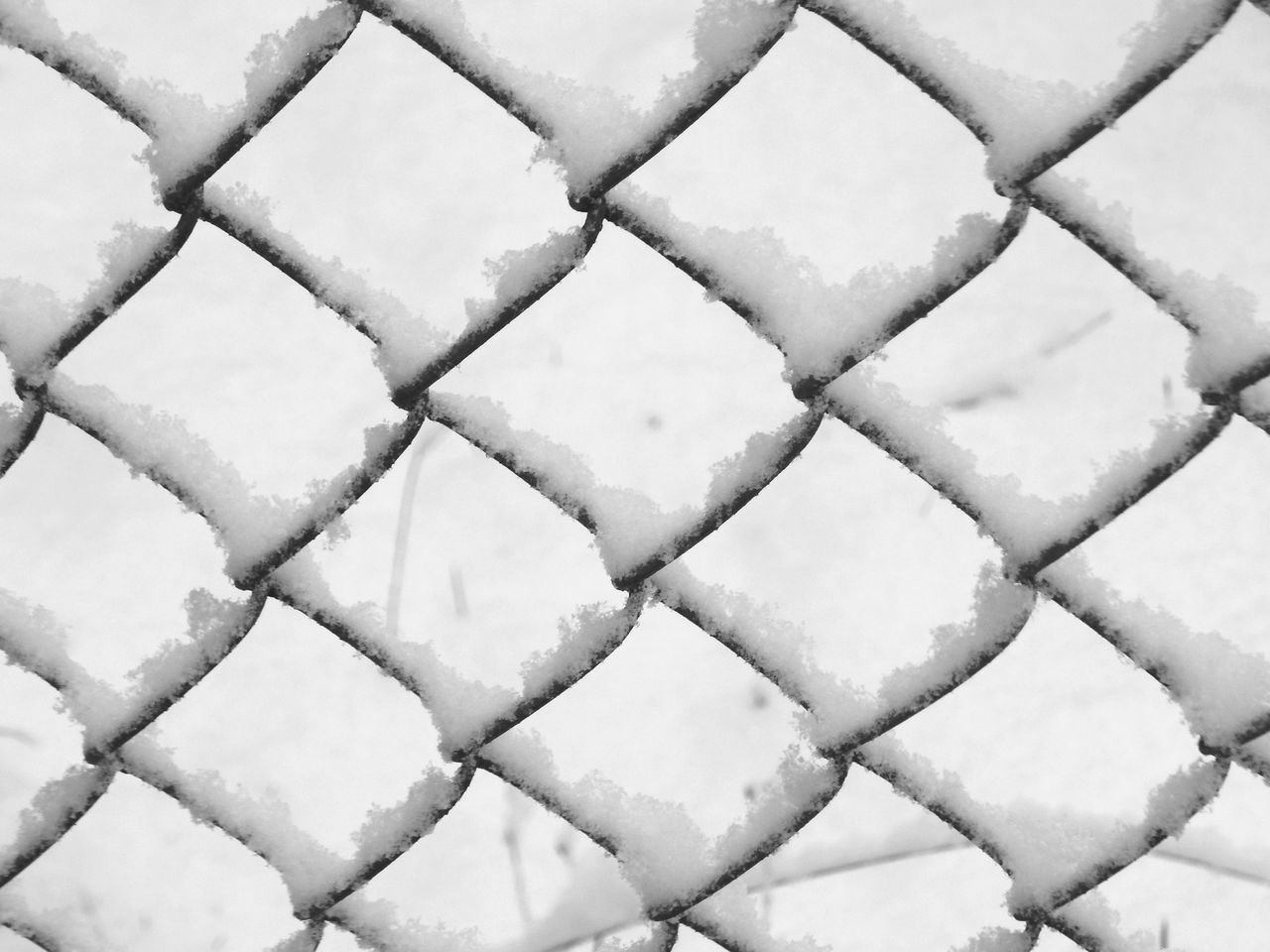 snowy pattern Backgrounds Bend Bent Chainlink Fence Chair Diamond Pattern Diamonds Equality Feburary Fence Gate Geometric Metal Pattern Patterns & Textures Same  Shape Snow Snow Covered Washington State White White Background Winter