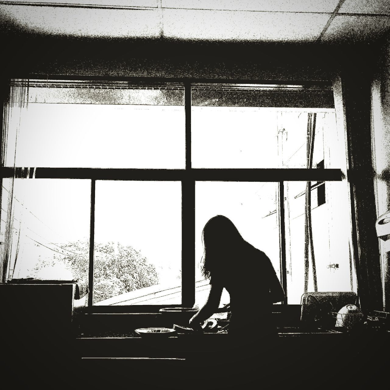 Woman At Work At Home Window Real People One Person Waist Up Silhouette Indoors  Men Sitting Women Day Adult People Blackandwhitephotography Blackandwhite Black & White Black And White Cooking Cooking Time