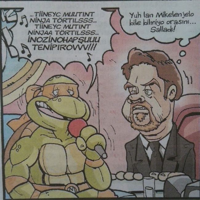 Ninja kaplumbagalar hey gidi gunler... Biz de sallardik parcanin orasini zaten... Bu haftaki Girgir dergisinden. Istanbul Mizah Komik komedi karikatur