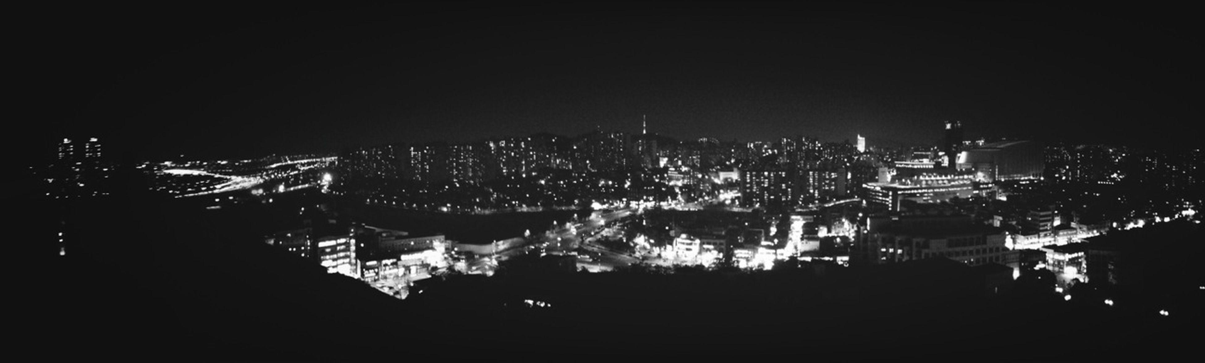 City Taking Photos Night Lights Panorama