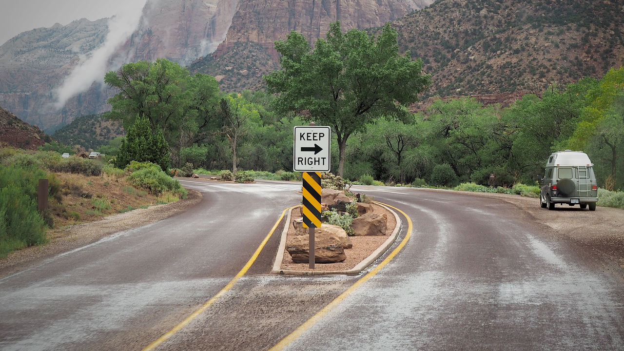 Bulli VW Zion National Park Day Guidance Keep Right Land Vehicle Mountain Mountain Road Nature No People Outdoors Road Road Sign Speed Limit Sign The Way Forward Transportation Tree Winding Road
