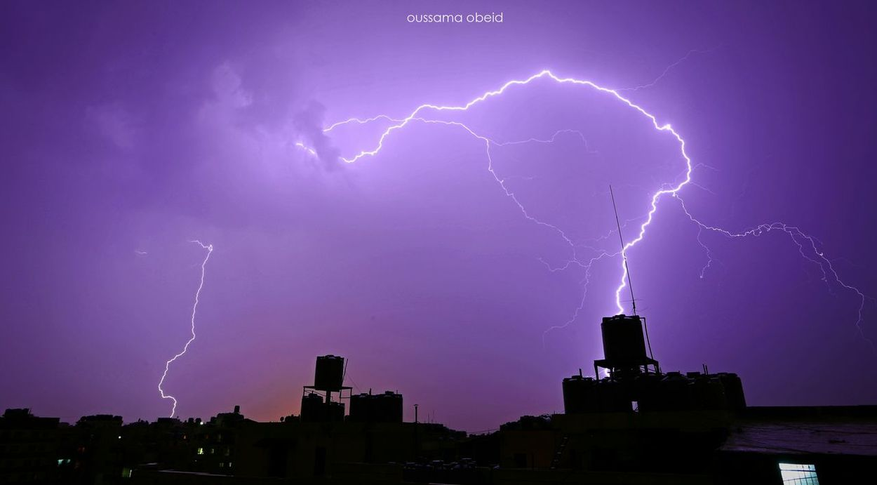 Lightning Night Thunderstorm Weather Dramatic Sky Storm Cloud Power In Nature Forked Lightning Outdoors No People Danger Nature Beauty In Nature Urban Skyline Scenics City Cityscape Sky Storm Nature 5dMarkIII Oussamaobeid
