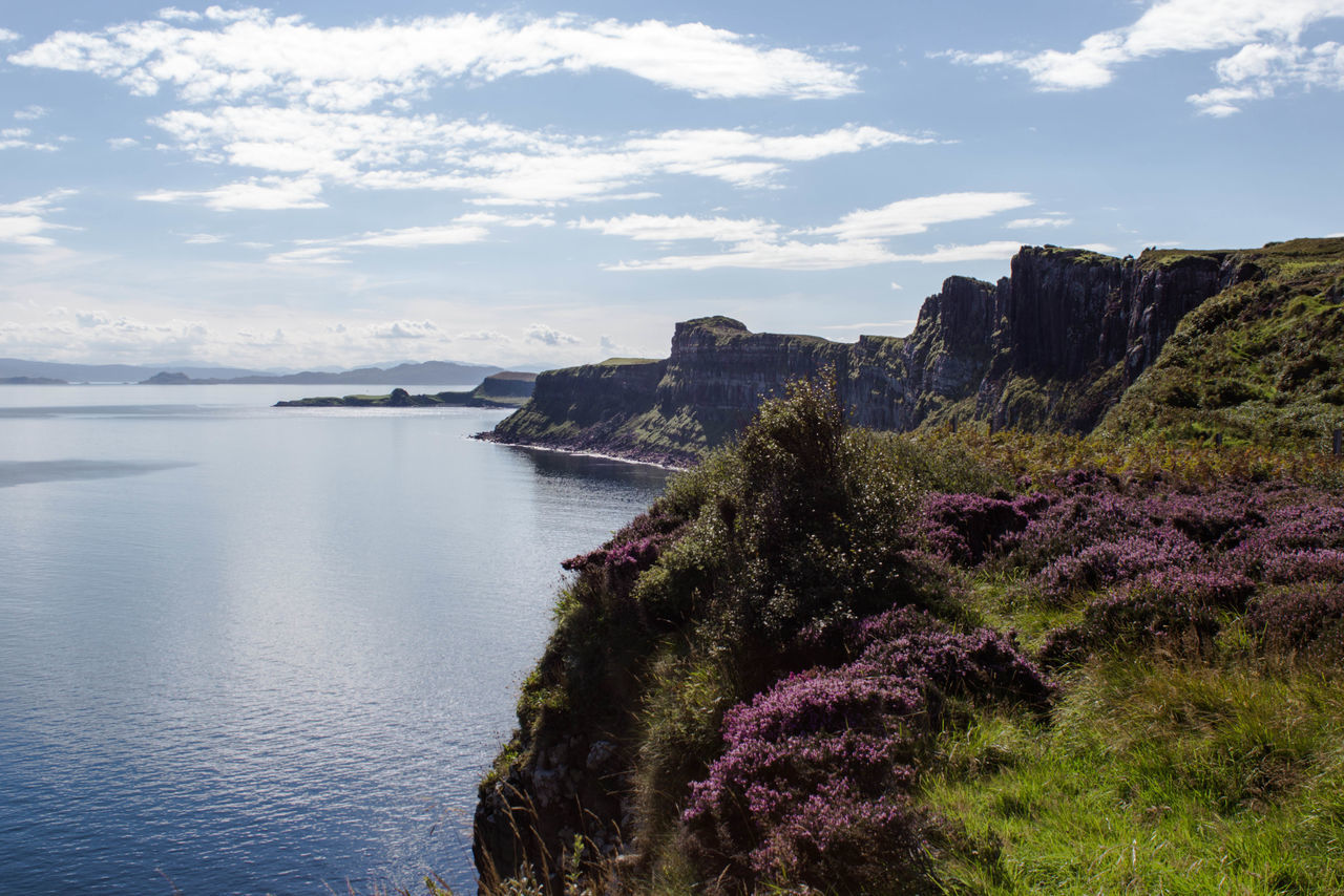 Beauty In Nature Calm Cliff Day Flowers Idyllic Isle Of Skye Isle Of Skye Views Kilt Rock Nature Ocean Ocean View Outdoors Scenics Scotland Sea Seascape Sky Skye Solitude Tourism Tranquil Scene Tranquility Travel Destinations Water