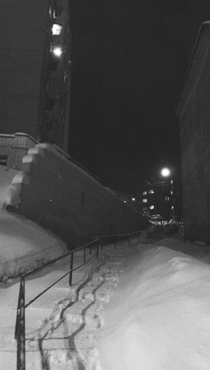 Murmansk is the City Of Thousands Stairs Winter Snow Small City Life Night View Night Photography Black And White Monochrome EyeEm Best Shots - Black + White