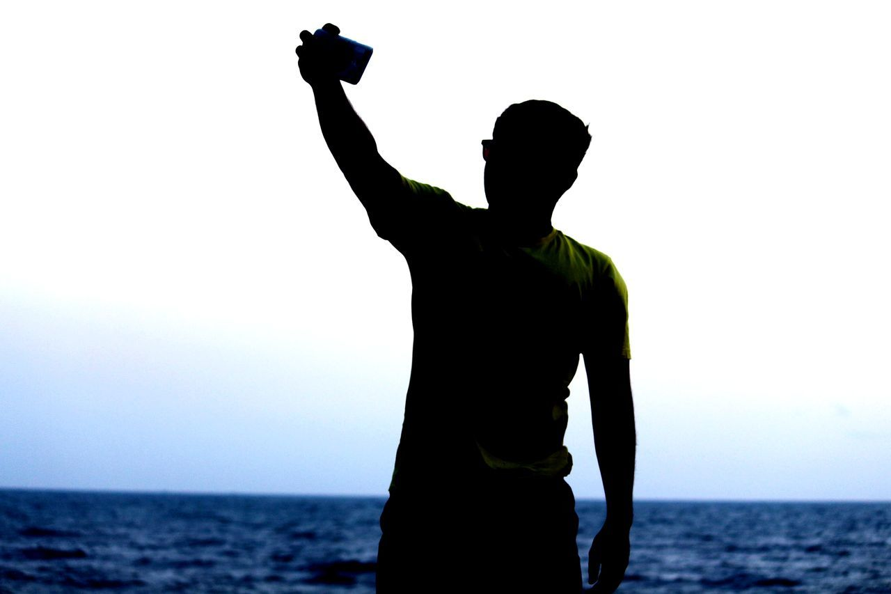 person standing front or back? guess it. Frontorback Shadows Selfie ✌ Darkness Illusion Silhouette Sea Horizon Over Water One Person One Man Only Adult Only Men EyeEm Ready   EyeEm Ready