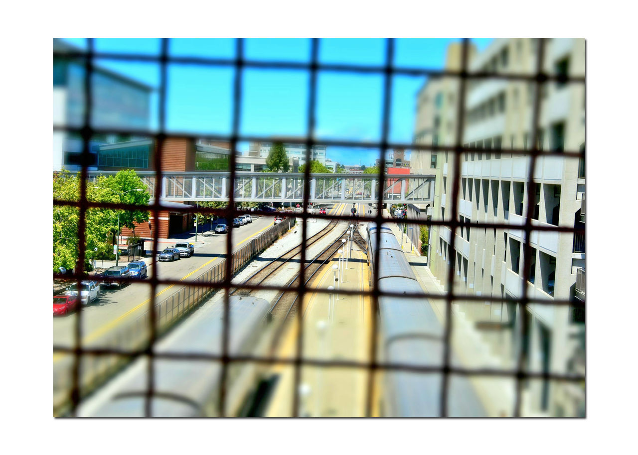 Train Station Catwalk 4 Jack London Square Port Of Oakland, Ca. Union Pacific Railroad Railroad Overpass Overpass View Tracks Amtrak Trains Parking Garage Cars Parked Fence Office Buildings Distortion Distorted View Miniaturized Train Lovers Railroad _collection Railroad Photography