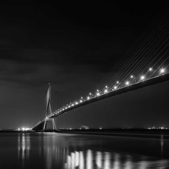 Blackandwhite Landscape Bridge Night Lights