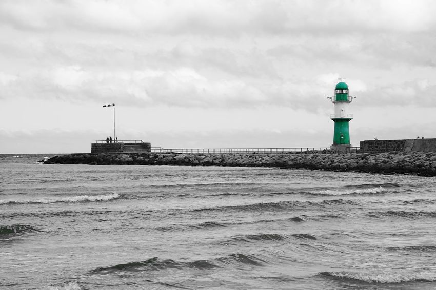 the green lighthouse Architecture Baltic Sea Blackandwhite Built Structure Cloud Green Grün Horizon Over Water Leuchtturm Lighthouse Mid Distance Monochrome Ocean One Color Outdoors Pier Sea Sky Urban Warnemünde Water Waterfront Wave We Keycolor