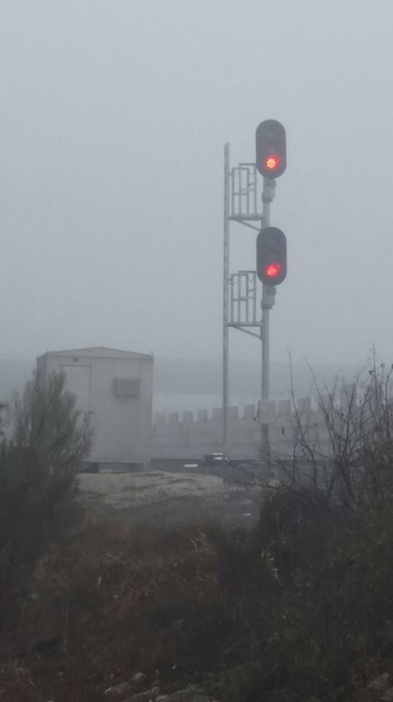 Commuter Train Day Fog Foggy No People Outdoors Red Light Stop Warning Lights