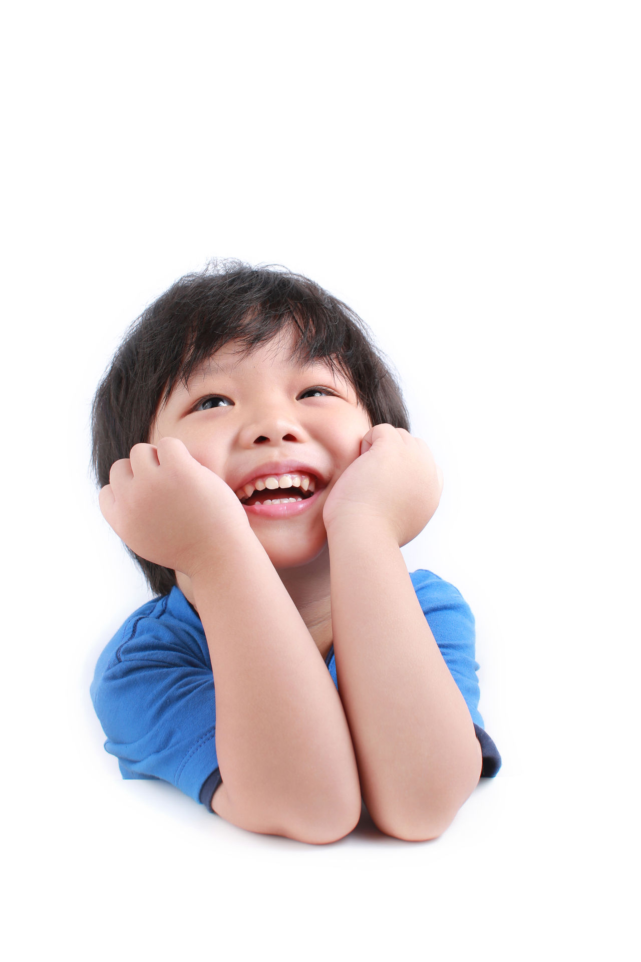 Childhood Asian  Boy Cheerful Child Childhood Children Only Close-up Conceptual Cute Happiness Human Body Part One Person People Portrait Smiling Studio Shot Thinking White Background