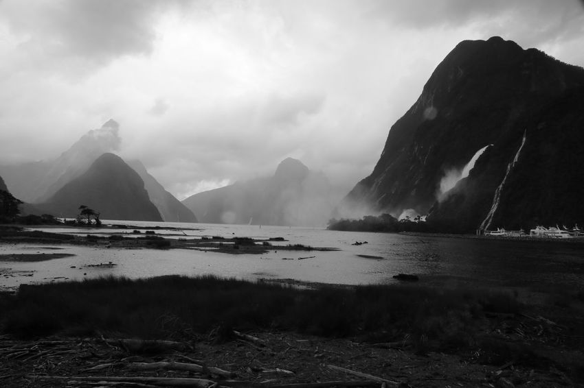 Black And White Black And White Photography Milford Sound New Zealand Rain Rainy Days Water Waterfall
