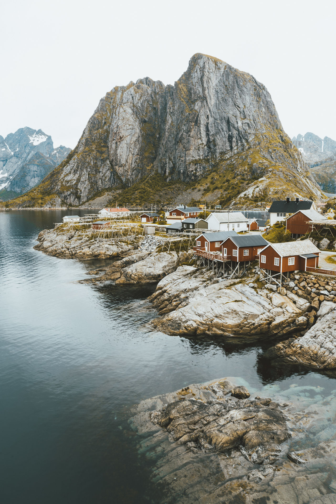 Hamnoy Rorbuer: Lofoten Islands, Norway Beauty In Nature Calm Coastline Day Fishing Village Landscape Lofoten Mountain Mountain Range Nature No People Non-urban Scene Norway Outdoors Remote Rock Formation Scenics Sky Tranquil Scene Tranquility Water