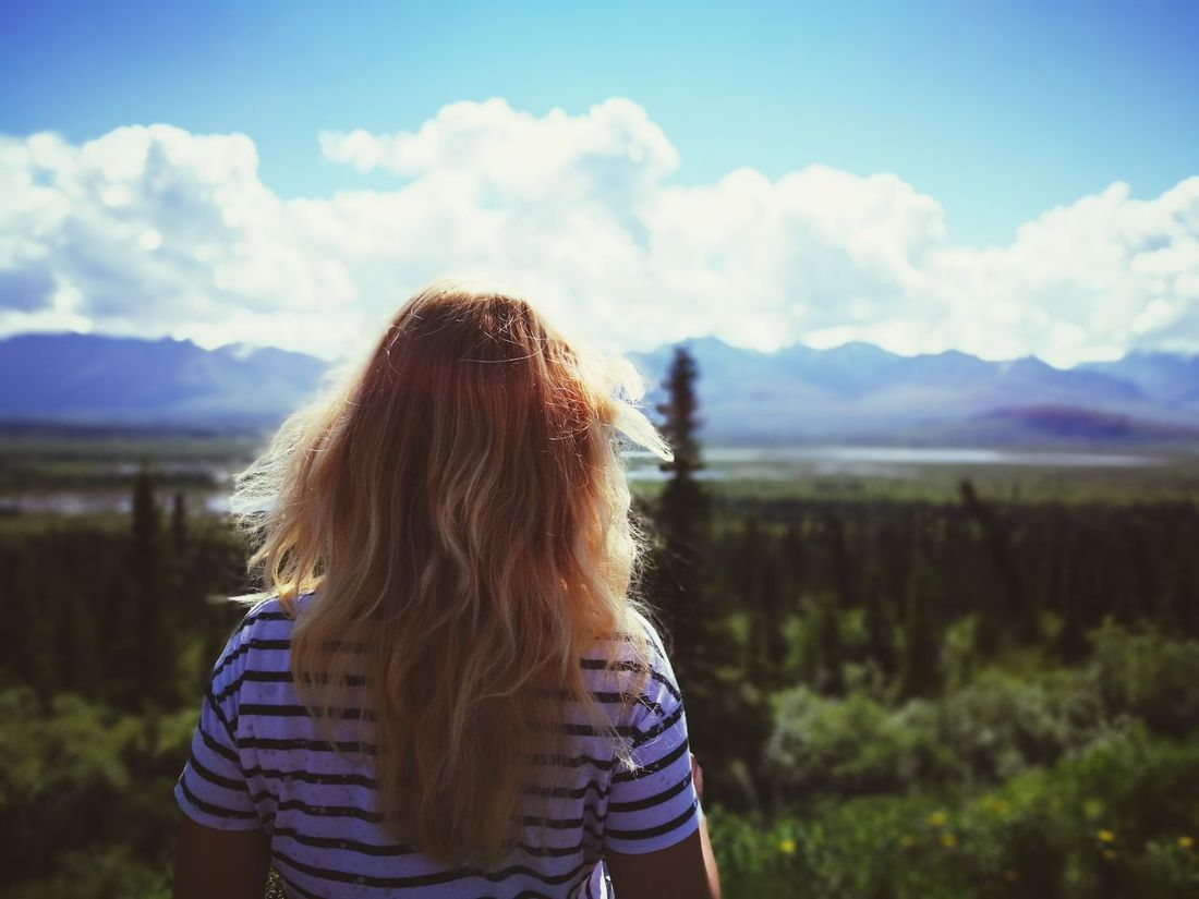 Only Women One Woman Only Long Hair Blond Adult One Person Cloud - Sky Women Rear View One Young Woman Only Young Adult Mountain Nature Standing Headshot Sky Summer Alaska Landscape Blurred Motion Relax Trip View From Above Foreground Focus Let's Go. Together.