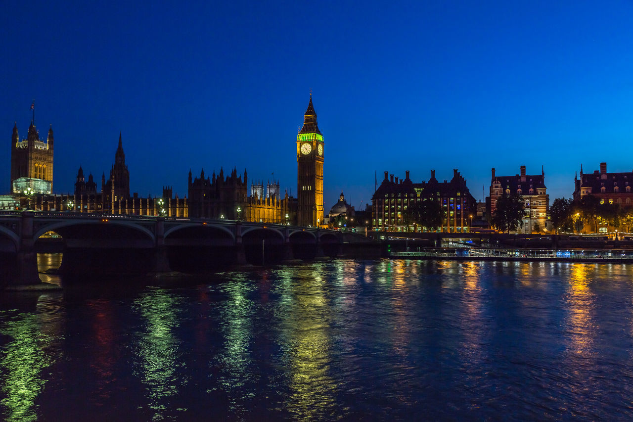 Big Ben and the Thames Nightphotography Westminster House Of Parliament landmark O'clock Tower London Bridge blue hour The City Light
