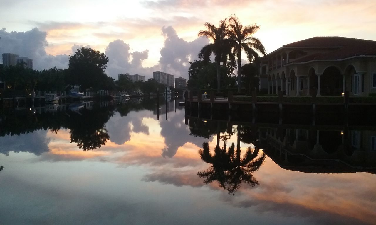 EyeEm Selects Reflection Sky Water Tree Architecture No People Outdoors Sunrise_Collection Sunrise - Dawn Travel Destinations Florida The Week On EyeEm Sunrise Cloud Outside Relaxation Tranquility Hallandale Beach Summer Dramatic Sky God's Beauty Beauty In Nature Palm Tree Cloud - Sky Gridlove Lost In The Landscape Perspectives On Nature Be. Ready.