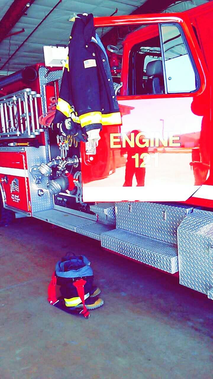 fire engine, firefighter, red, rescue, land vehicle, transportation, day, accidents and disasters, outdoors, headwear, people