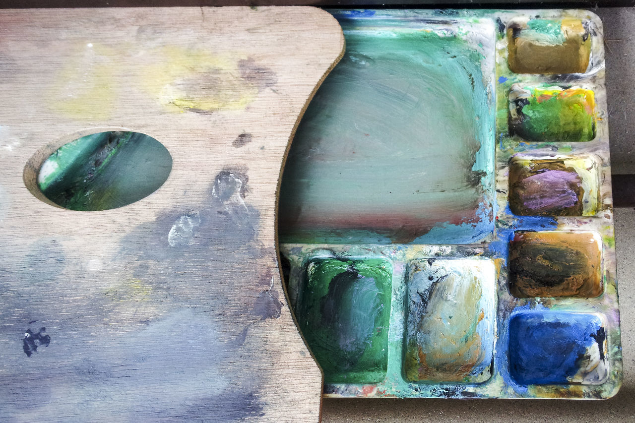 Close-up Day Indoors  Multi Colored No People Oil Paint Paint Paintbrush Palette Wood - Material