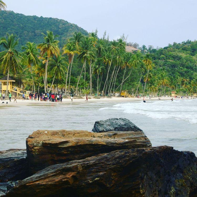 Mountains And Sky Coconut Trees Maracas Beach Maracas Trinidad And Tobago