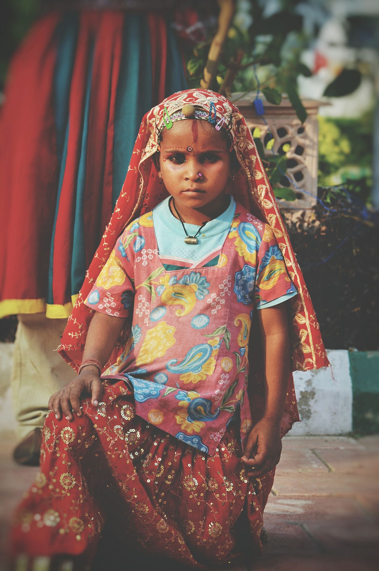 Childhood Elementary Age Lifestyles Front View Innocence Cute Smiling Selective Focus Three Quarter Length Streetphotography India World Culture Portrait Of Innocence Portrait Photography Folk Music Folk Dance