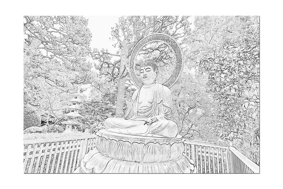 Budda Statue @ Japanese Tea Garden 4 Golden Gate Park San Francisco Ca Bronze Cast 1790 Tajima, Japan. Cast For Taionji Temple Presented To The Garden In 1949 Budda (563? To 483 B.C.) Born Prince Siddhartha Of The Sakyas The Historic Founder Of The Buddist Religion Renounced His Home Of Luxury At Age 29 Known As Budda, The Enlightened One Landscape Landscape_photography Landscape_Collection Landscape_lovers Black & White Black And White Pencil Sketch  Black And White Collection  Black And White Photography Japanese Tea Garden
