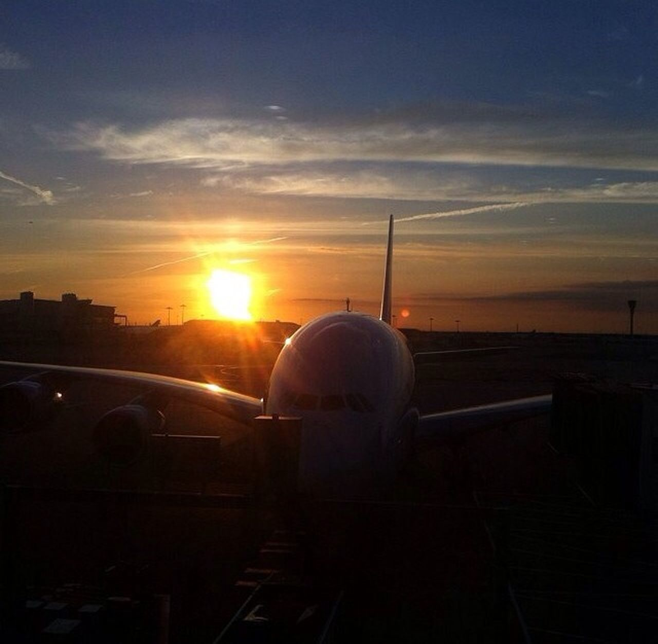 sunset, sky, sun, transportation, airplane, no people, air vehicle, travel, sunlight, outdoors, nature, day