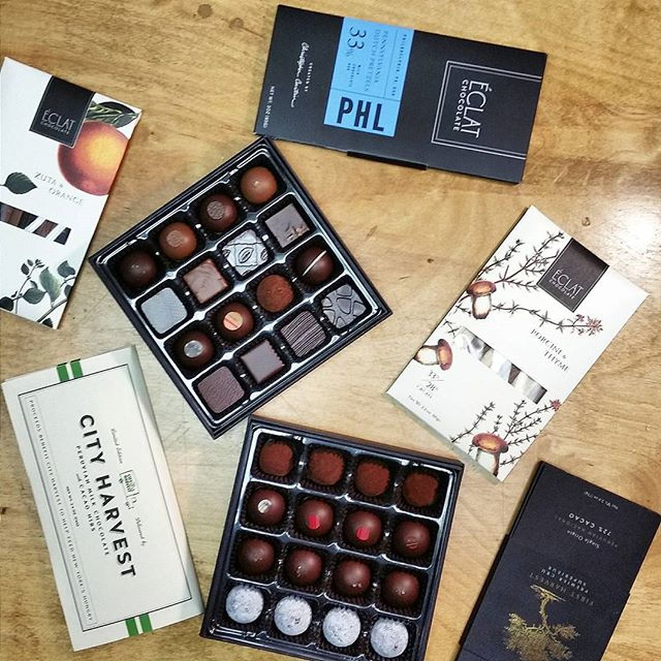 Chocolate tasting at the office today 🍫👌 Eclat Chocolate ChocolatePorn Prlife Foodpr Dailyfoodfeed Feedfeed Feedyoursoul Noleftovers Eeeeeats Foodgasm Foodstagram Yahoofood Todayfood Eater Zagat Philly F52grams Tastingtable Foodphotography