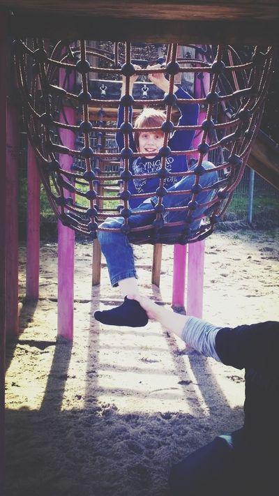 Playground Boy Having Fun Beautiful Day