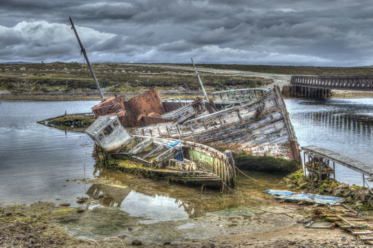 Cloud - Sky Day Destruction Natural Disaster Nautical Vessel No People Old Boat Outdoors Shipwreck Sky Storm Cloud Water