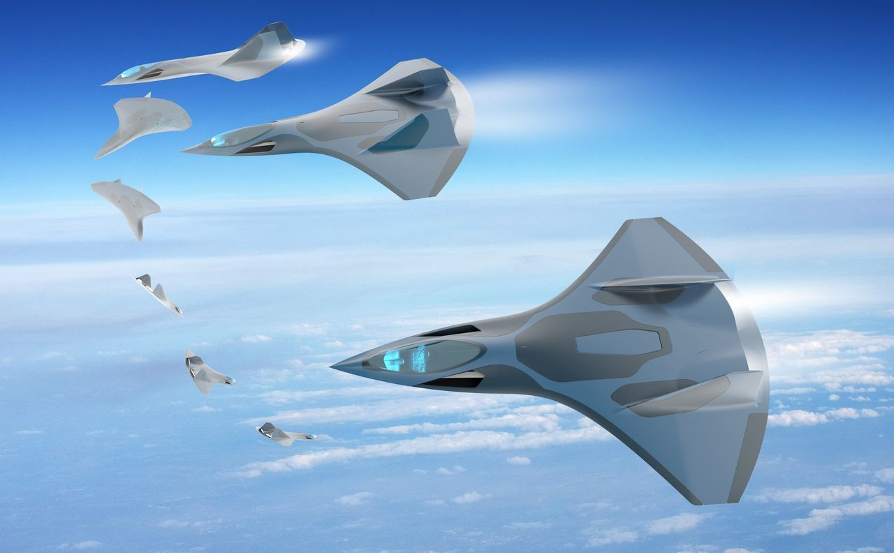 Advanced military fighter 3D Advanced Adventure Aircraft Aircraft Wing Blue Cloud Flying Hi Hightech Manouvellecopine Manouver Mid-air Relaxing Sky