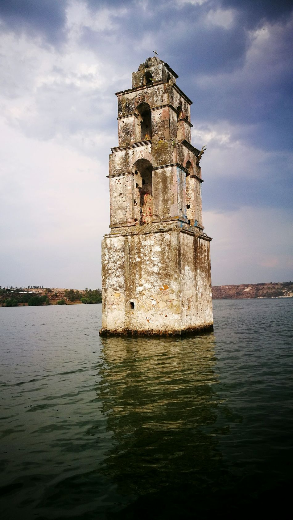 History Water Architecture No People Cloud - Sky Built Structure Sea Outdoors Sky Day Underwater Building Exterior Nature Clock Iglesia Torre Inundations Campanario Bell Tower Inundado Tower Mexico Church Tower Church