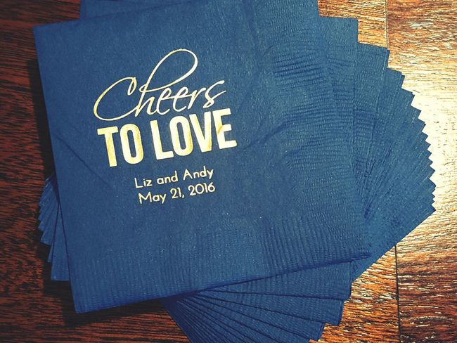 Wedding Navy Napkins Photography Cursive Writing Love