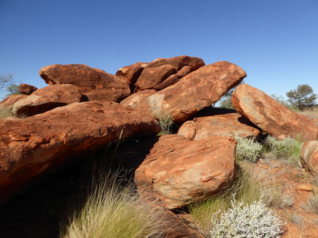 Beauty In Nature Big Rocks Clear Sky Day Geology Large Rock Boulders Nature No People Outback Australia Outdoors Pile Of Giant Rocks Red Earth Rock - Object Sky Stack Of Rocks Tranquility Travel Destinations Very Blue Sky