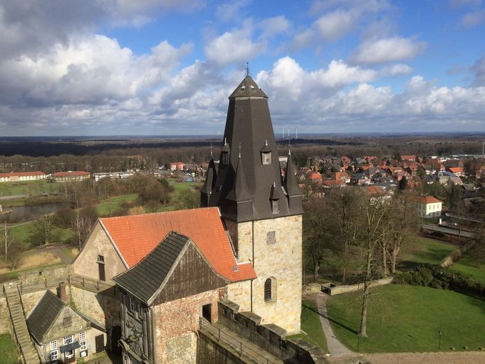 Castle Historie Fortress Sun Houses Sunny Day Happy World View High Tower Stones