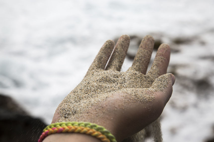 Sand trickle through fingers on beach Grain Of Sand Hawaii Indian Ocean Nature Beach Body Part Caribbean Close Up Day Fingers Focus On Foreground Human Hand Leisure Time One Person Outdoors Pacific Ocean Rippled Sand Sandy Beach Shore Summer Trickle